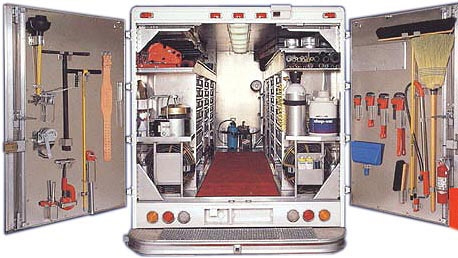 inside plumbing-truck