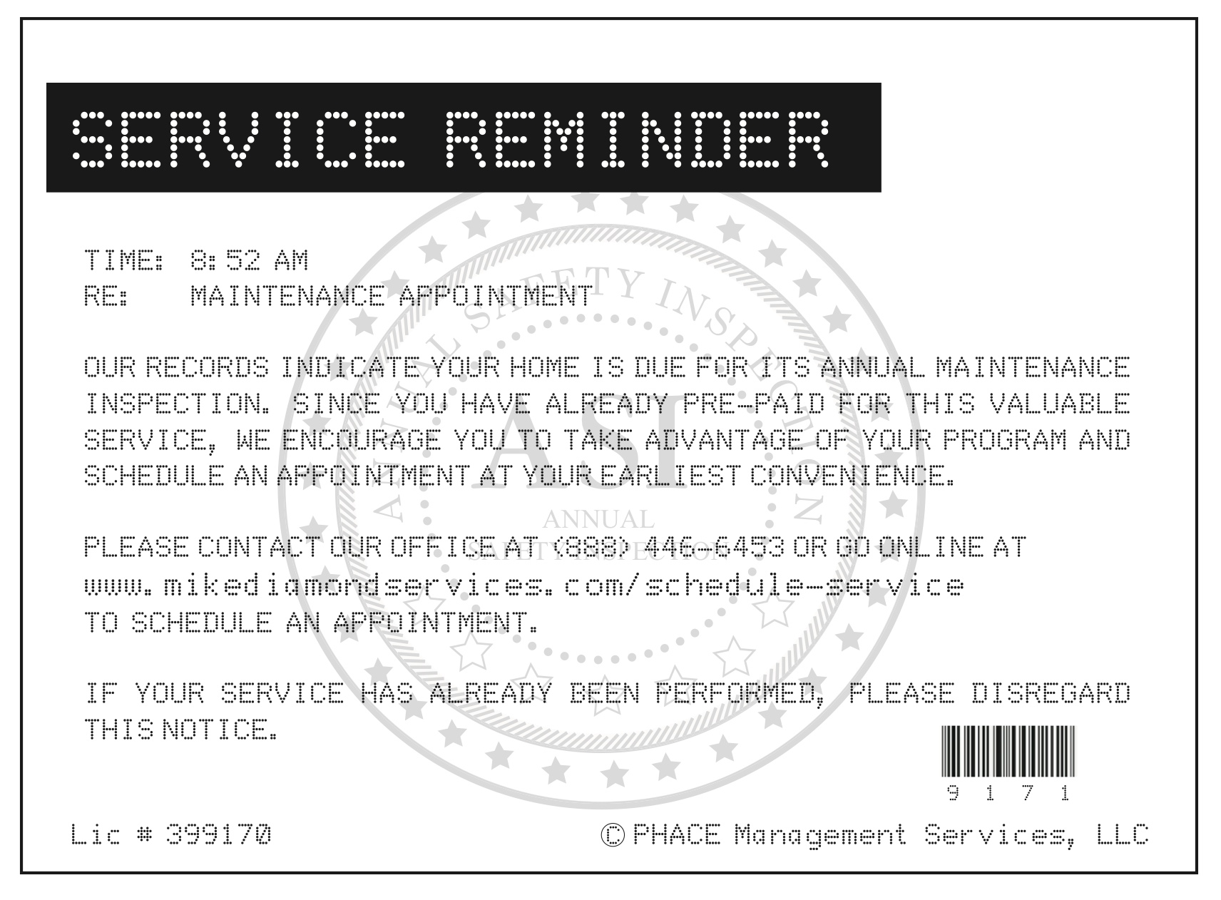 Md Service Reminder Warranty Card 2 Mike Diamond Services