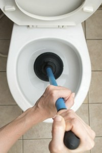 Plunger removing a toilet clog.