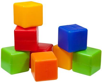 Kids' Plastic Toys on White Background