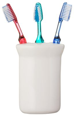 Three Toothbrushes on White Background