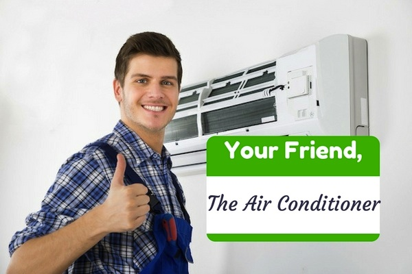 Man in overalls giving thumbs up next to wall-mounted HVAC system