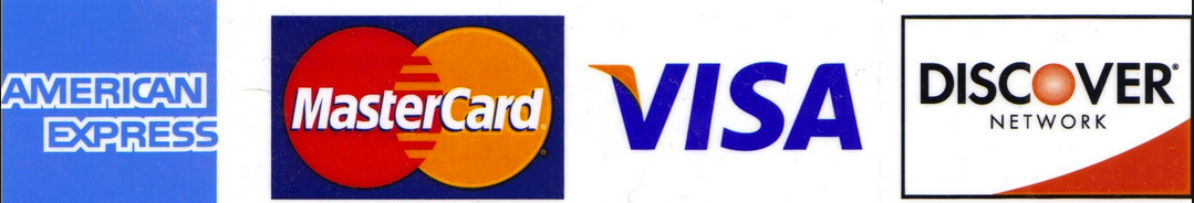 Major Credit Cards: Visa, MasterCard, American Express