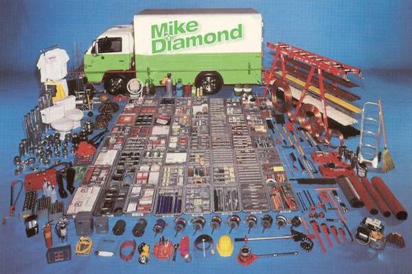 Mike Diamond truck and piles of well-organized tools