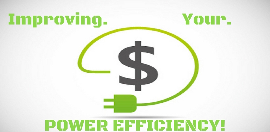 "graphic of green power chord circling around a money symbol. ""Improving Your Power Efficiency"""