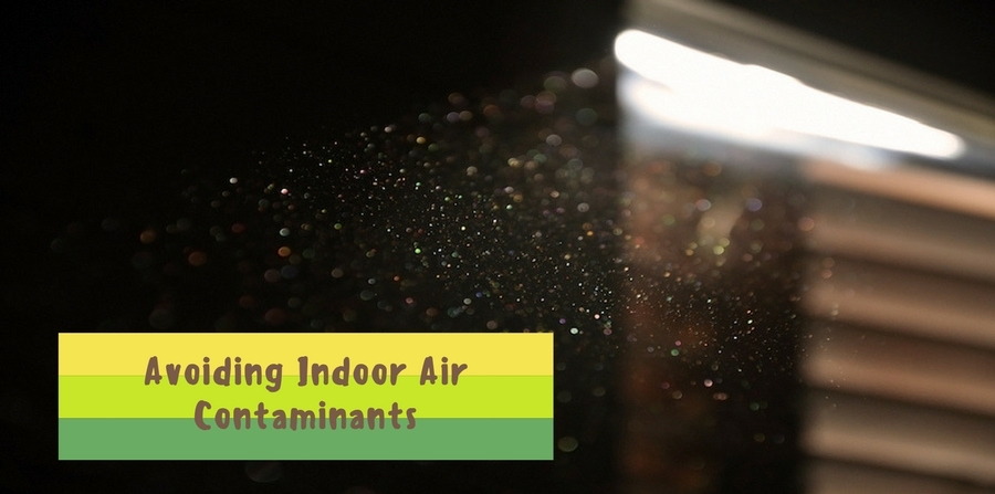 "dust floating in the air, visible from beam of sunlight coming from partially opened blinds on window. ""Avoiding Indoor Air Contaminants"""