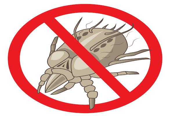 "Cartoon of dust mite with red ""NO"" icon"