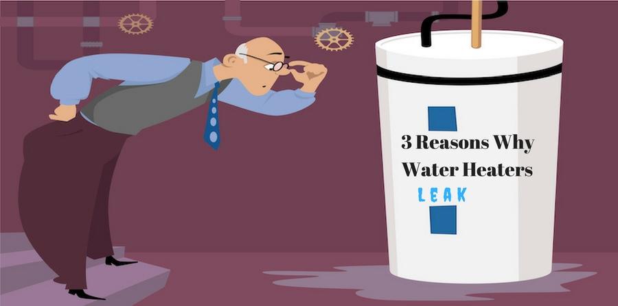 "Cartoon of man leaning over leaking water heater. ""3 Reasons Why Water Heaters Leak"""