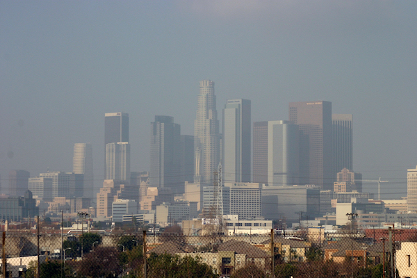 Smog obscuring downtown Los Angeles