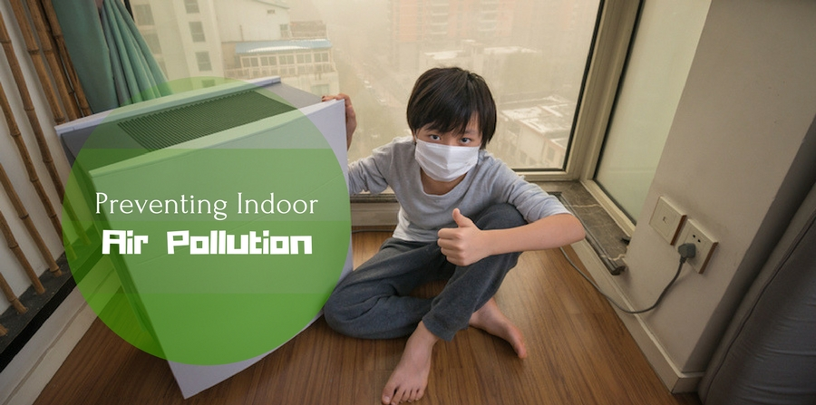 "Boy giving thumbs up while sitting next to an air purifier and wearing a face mask. Smoggy city visible in window behind him. ""Fighting Indoor Air Pollution."""