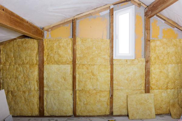 Yellow attic insulation