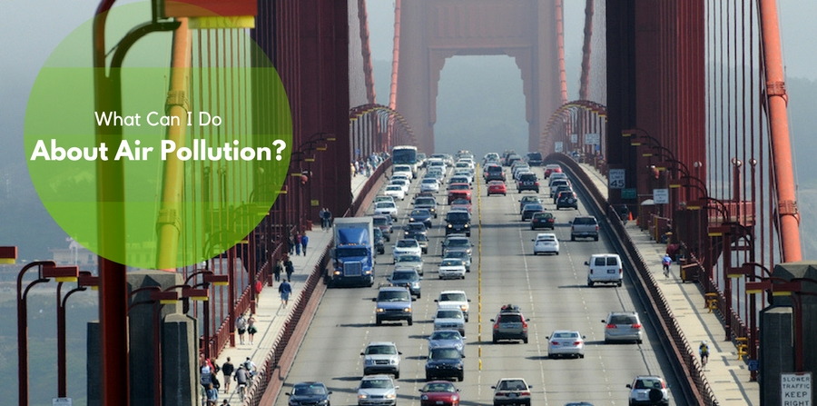 "San Francisco bridge busy with traffic on a smoggy day. ""What can I Do About Air Pollution?"""