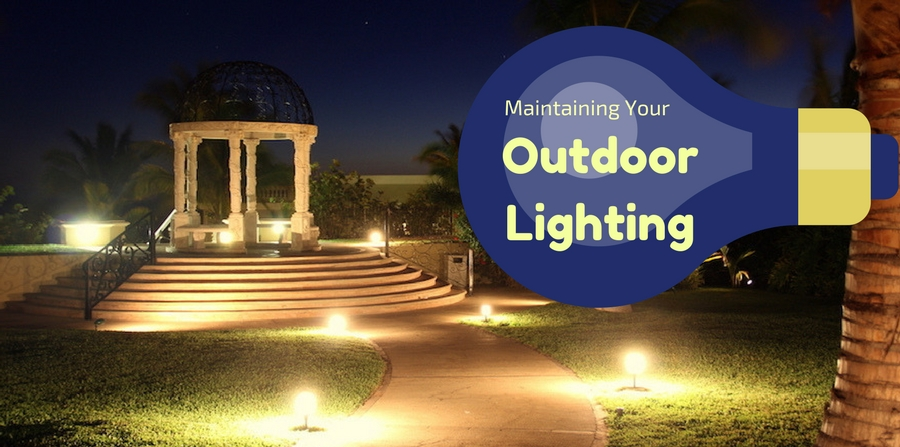 "well-lit outdoor area with gazebo at night. ""Maintaining your outdoor lighting"""