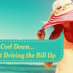 """Woman in a sunhat on the beach. Saturated filter. """"How to cool down... without driving the bill up"""""""