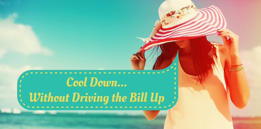 "Woman in a sunhat on the beach. Saturated filter. ""How to cool down... without driving the bill up"""