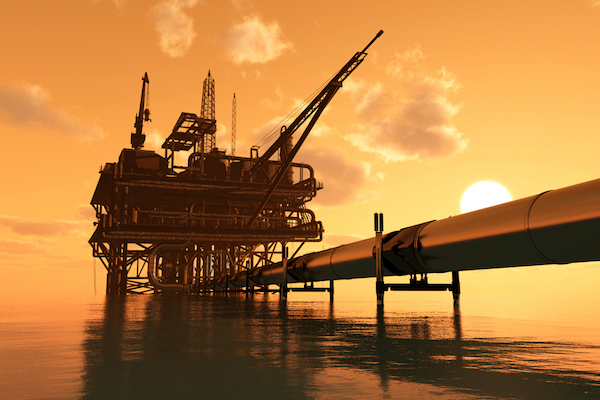 Oil rig on the sea