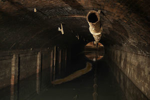 "X-files horror-episode monster ""the Flukeman"" spawned in radiation-polluted sewers"