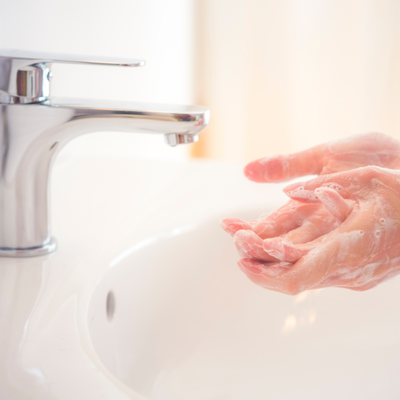 Washing hands without leaving the faucet running