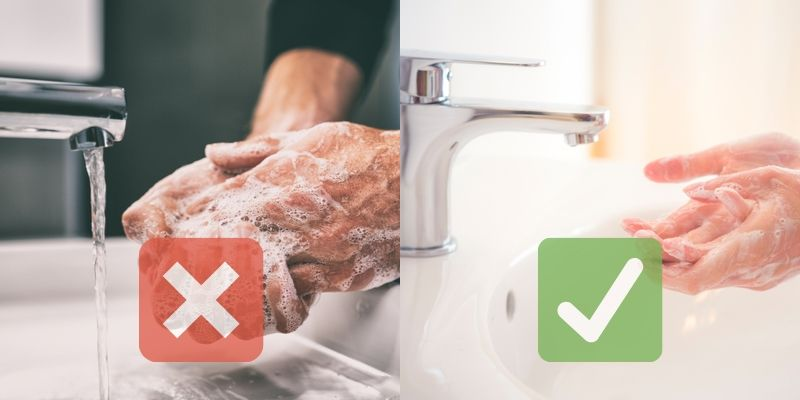 Improper and proper handwashing techniques, side by side (don't leave the faucet running!)
