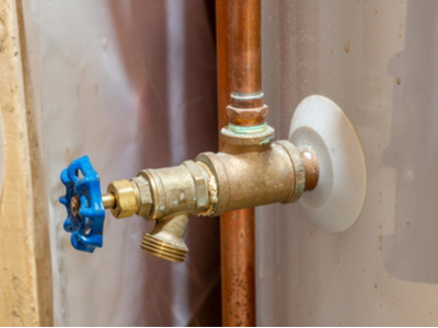 The drain valve on a home water heater.